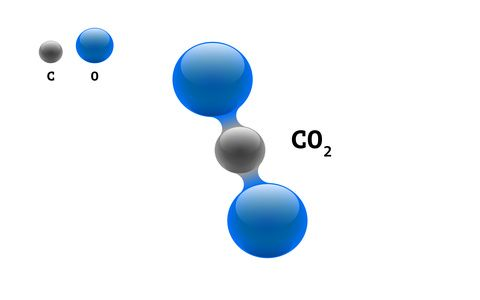 Chemistry model molecule carbon dioxide CO2 scientific element formula. Integrated particles natural inorganic 3d molecular structure consisting. Two oxygen and carbon volume atom eps vector spheres